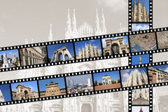 Milan. Italy. Illustration - film strips with travel memories. All photos taken by me, available also separately Royalty Free Stock Images