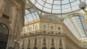 Milan, Italy inside Galleria Vittorio Emanuele II. This arcade is from its opening in 1877 one of the oldest shopping malls in Europe stock footage