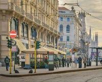 Urban street scene at historic center of milan. MILAN, ITALY, JANAURY - 2018 - Urban street scene at milan city at winter season time stock photography
