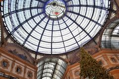 Beautiful early morning view to the decorated for Christmas dome of the Vittorio Emanuele II Gallery. royalty free stock photo