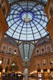 Beautiful early morning view to the decorated for Christmas Vittorio Emanuele II Gallery. royalty free stock image
