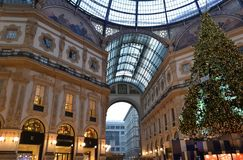 Beautiful early morning view to the decorated for Christmas Vittorio Emanuele II Gallery. stock photo