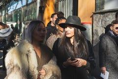 Fashionable people posing during Milan Men`s Fashion Week royalty free stock photography