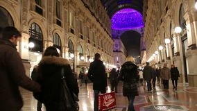 Milan, Italy - January 4, 2015 Shopping In Galleria Vittorio Emanuele stock footage