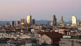 Milan, Italy - January 4, 2015 View of Milans  business district from Duomo di Milano. stock video