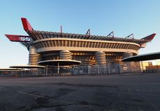 MILAN, ITALY, 2 Jenuary 2018:Stadio Giuseppe Meazza, commonly as San Sito. Where played Inter and Milan F.C Royalty Free Stock Photo