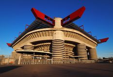 MILAN, ITALY, 2 Jenuary 2018:Stadio Giuseppe Meazza, commonly as San Sito where played Inter and Milan F.C. Stock Photography