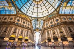Galleria Vittorio Emanuele II in Milano. MILAN, ITALY - July 2, 2017: Galleria Vittorio Emanuele II in Milano. It`s one of the world`s oldest shopping malls Stock Photos