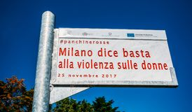 Milano Dice basta alla violenza sulle donne means Milan says enough to violence against women, with the hashtag. Milan, Italy - July 22, 2018: Milano Dice basta royalty free stock images
