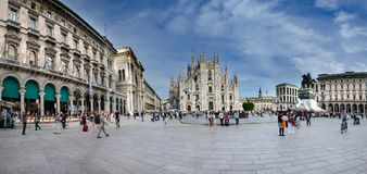 Panoramic view of Cathedral and Piazza del Duomo in Milan, Italy royalty free stock photography