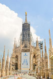 MILAN, ITALY - JULY 9, 2011: Restoration and construction elements on the Cathedral Duomo in Italy. royalty free stock images