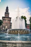 Sforza Castle in Milan, Italy. Architecture and landmarks of Mil. Milan, Italy - July 23 2011 : Sforza Castle (Castello Sforzesco) in Milan, Italy. Architecture stock photography