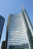 MILAN, ITALY - JULY 19, 2017: Unicredit Tower is a skyscraper and the headquarters of UniCredit, Italy`s largest bank by assets. I. T is the tallest building in stock photo