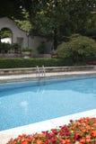 View of Villa Necchi Campiglio swimming pool royalty free stock image