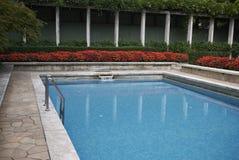 View of Villa Necchi Campiglio swimming pool stock images