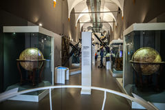MILAN, ITALY - JUNE 9, 2016: antique globes at the Science and T. Echnology Museum Leonardo da Vinci Stock Photos