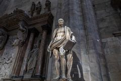 Closeup marble sculpture in Milan Cathedral (Duomo di Milano) royalty free stock photo