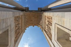 Detail of Triumph Arc - Arco Della Pace, Milan, Italy. MILAN, ITALY - JUNE 22, 2018: Detail of Triumph Arc - Arco Della Pace in Sempione park at sunset time Royalty Free Stock Image
