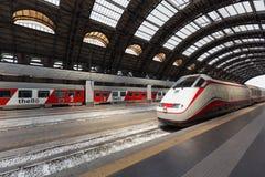 Frecciabianca train arrives to Milan, Italy Stock Photo