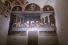 Picture The Last Supper by Leonardo da Vinci. Milan, Italy - June 27, 2018: Interior of refectory of the convent Santa Maria delle grazie (Holy Mary of Grace) stock photos