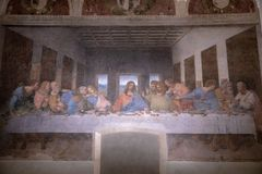 Picture The Last Supper by Leonardo da Vinci. Milan, Italy - June 27, 2018: Interior of refectory of the convent Santa Maria delle grazie (Holy Mary of Grace) royalty free stock images