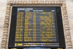 Departure schedule board of Milan Central Railway Station, Italy Royalty Free Stock Photography