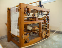 MILAN, ITALY - JUNE 9, 2016: mechanical loom models of Leonardo. Da Vinci`s scientific studies displayed at the Science and Technology Museum Leonardo da Vinci royalty free stock images