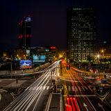 MILAN, ITALY, JUNE 18 2014:Melchiorre Gioia district, night scene Royalty Free Stock Image