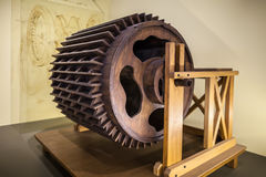MILAN, ITALY - JUNE 9, 2016: models of Leonardo da Vinci`s scien. Tific studies displayed at the Science and Technology Museum Leonardo da Vinci royalty free stock image