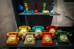 MILAN, ITALY - JUNE 9, 2016: multicoloured old phones at the Sci Stock Image
