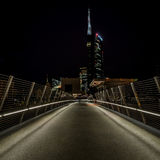 MILAN, ITALY, JUNE 18 2014: new Unicredit Bank skyscraper, night scene Stock Image
