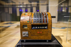 MILAN, ITALY - JUNE 9, 2016: retro cash register at the Science. And Technology Museum Leonardo da Vinci royalty free stock photo