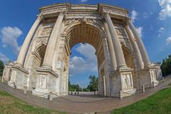 Triumph Arc - Arco Della Pace in Sempione park, Milan, Italy. MILAN, ITALY - JUNE 22, 2018: Triumph Arc - Arco Della Pace in Sempione park at sunset time Stock Photos