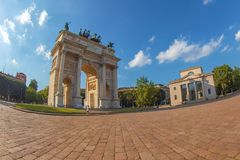 Triumph Arc - Arco Della Pace in Sempione park, Milan, Italy. MILAN, ITALY - JUNE 22, 2018: Triumph Arc - Arco Della Pace in Sempione park at sunset time Royalty Free Stock Photos