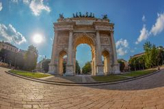 Triumph Arc - Arco Della Pace in Sempione park, Milan, Italy. MILAN, ITALY - JUNE 22, 2018: Triumph Arc - Arco Della Pace in Sempione park at sunset time Royalty Free Stock Photography