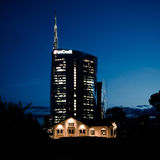 Milan, Italy june 30 2014: Unicredit Bank skyscraper , night scene Stock Photography