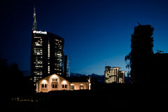 Milan, Italy june 30 2014: Unicredit Bank skyscraper , night scene Stock Images