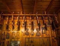 MILAN, ITALY - JUNE 9, 2016: violin maker`s workshop at the Scie Stock Photo