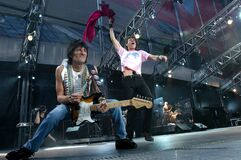 The Rolling Stones ,  Ronnie Wood and Mick Jagger during the concert