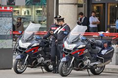 Milan, Italy - Local Police - Carabinieri. Milan, Italy - October 03: On the squere ``Piazza del Duomo``, the central squere of Milan, patrolling local police Stock Image