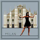 Milan 1. Milan. Italy. Lombardy. Milan Cathedral. The woman (girl) on the background of architecture. Vector illustration Royalty Free Stock Photos