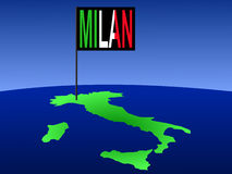 Milan on Italy map stock illustration