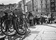 Milan, Italy - March 23, 2016: Bicycles waiting the owners, who