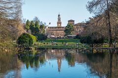 Lake in Sempione Park in the historic center of the city near the walls of the Sforza Castle, Milan, Italy. The park is adjacent to the gardens of the Sforza stock photos