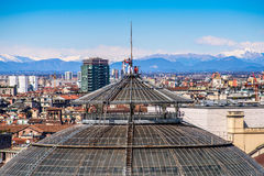 MILAN, ITALY MARCH 27 2015: people on Vittorio Emanuele II Gallery dome from Duomo roof terrace Stock Photography