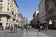 Milan, Corso Como, trendy pedestrian area situated between Piazza Gae Aulenti and Piazza XXV Aprile, Lombardy Italy stock image
