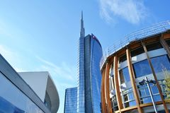 Unicredit pavilion during its construction period and Unicredit tower in background. royalty free stock photography