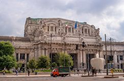 Milan, Italy - 10 May 2018: Milan Central Station -Stazione Centrale- and the square in front of the station.  royalty free stock photography