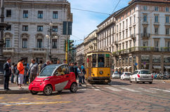 Milan, Italy - May 25, 2016: Crossroads in Piazza della Scala. Royalty Free Stock Images