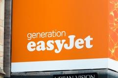 EasyJet company logo. Milan, Italy - May 29, 2018: easyJet company logo. easyJest is Airline Company Royalty Free Stock Photography